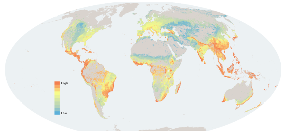 Areas of global significance for the restoration of biodiversity and carbon storage